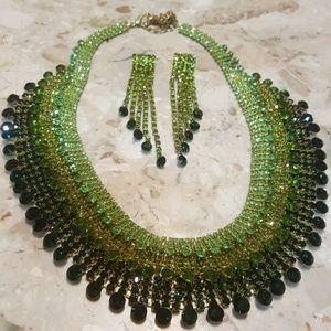 Prom Formal Green Gemstone Necklace Setpp